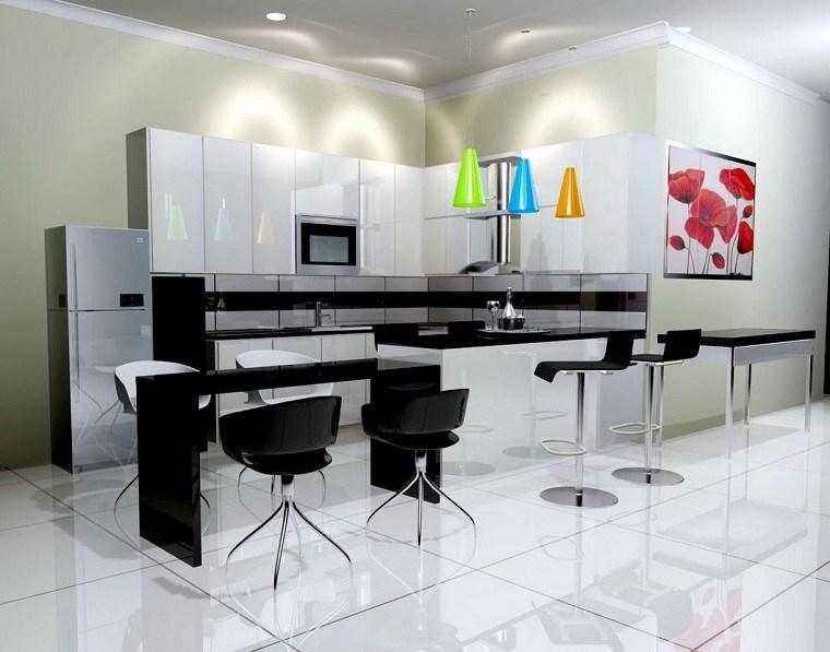 losas blancas cocina sillas negras lamparas colores vibrantes ideas