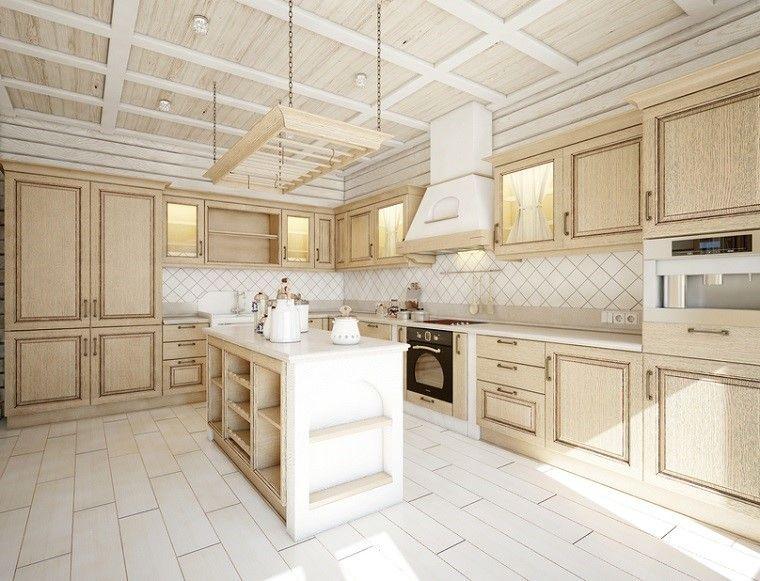 losas blancas muebles madera cocina moderna ideas