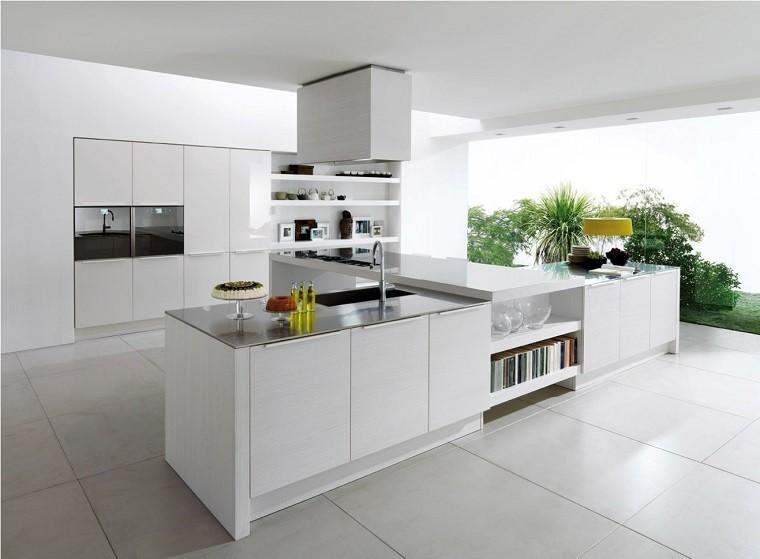 losas blancas suelo cocina estilo minimalista isla ideas
