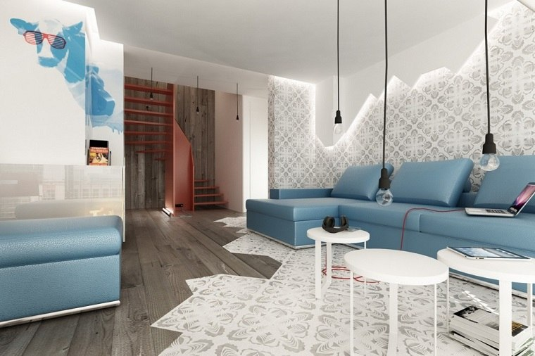 losas blancas suelo madera combinacion salon ideas