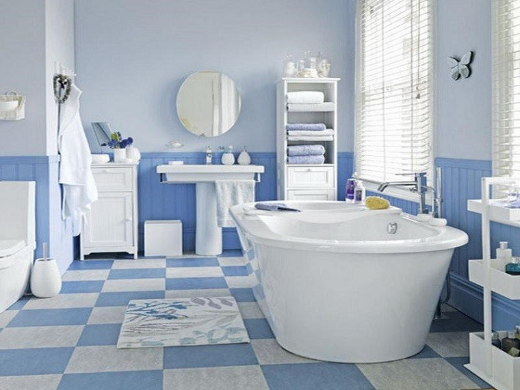 blue tiled bathroom pictures mosaico losas y m 225 s ideas para suelos en blanco y azul 17476