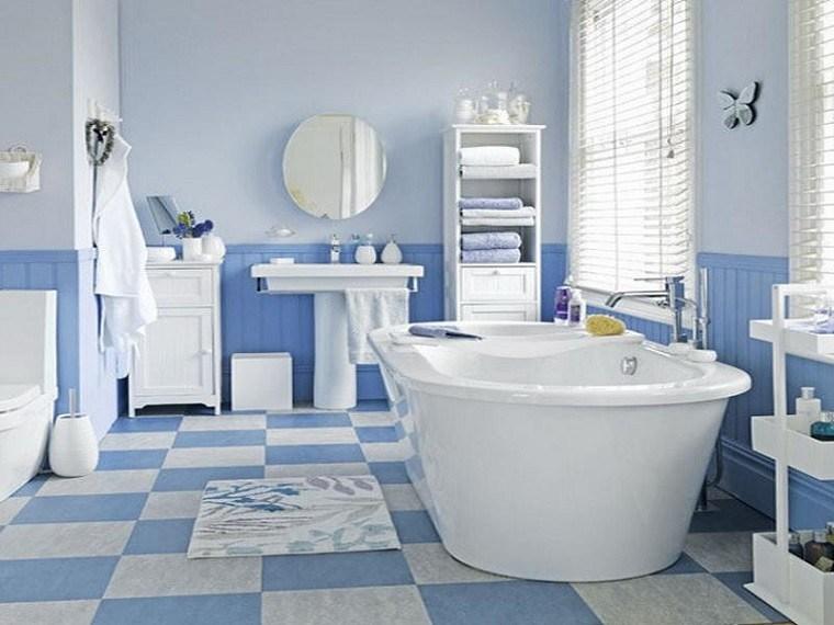 Mosaico losas y m s ideas para suelos en blanco y azul - Banos en azul y blanco ...