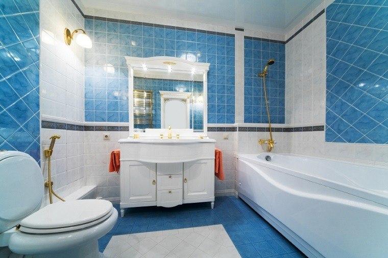 losas blanco azul suelo paredes bano moderno ideas