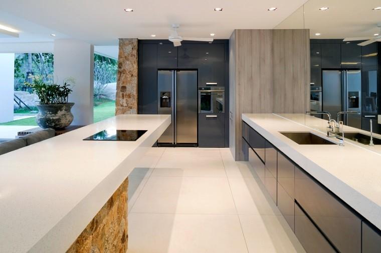 losas grandes blancas suelo cocina moderna ideas