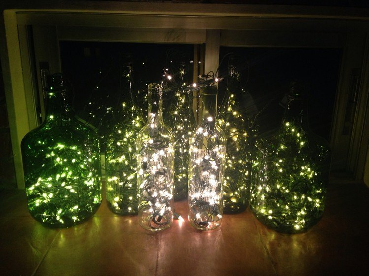 luces de navidad botellas cristal verdes transparente ideas