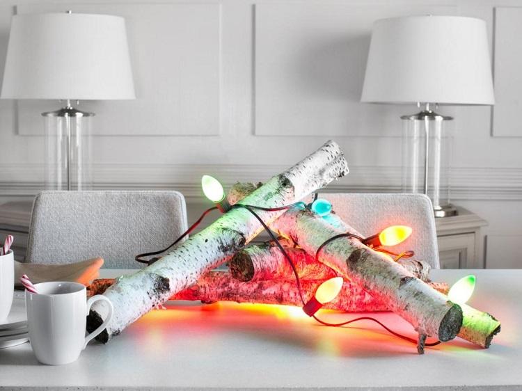 luces de navidad centro mesa madera original ideas
