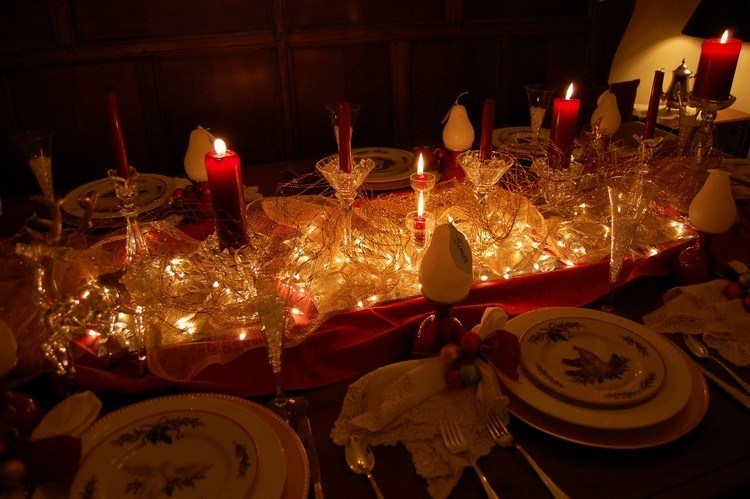 luces de navidad centro mesa velas cena navidena ideas