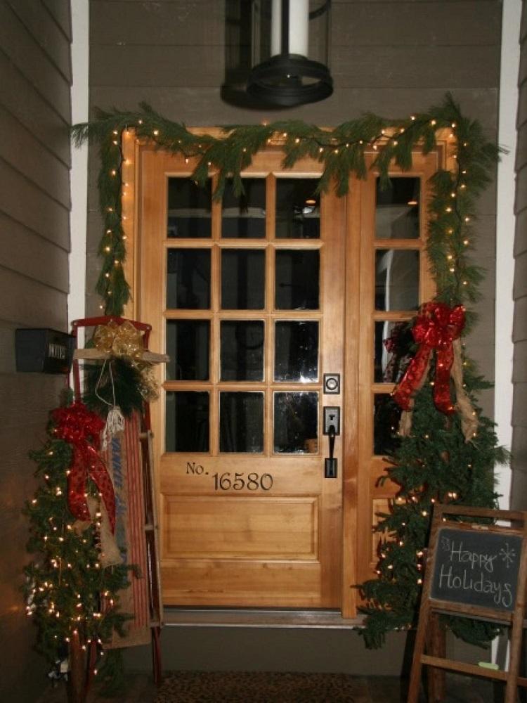 luces de navidad entrada gurnalda larboles navidad pequenos ideas