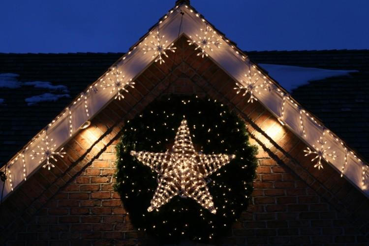 luces de navidad estrella colgar exterior casa ideas