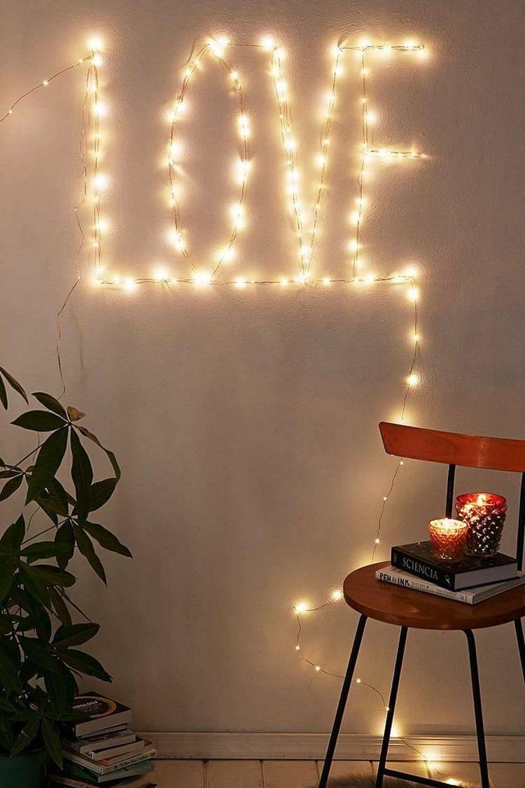 luces de navidad pared iluminada amor navidad ideas
