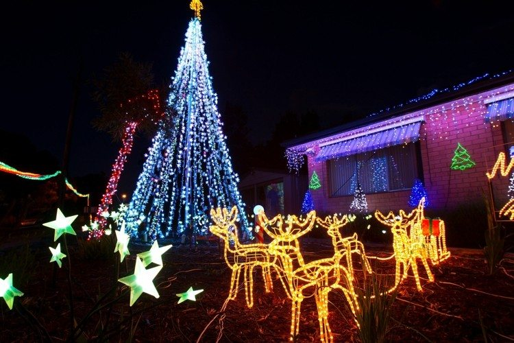 luces navidad renos estrellas arbol navidad grande ideas