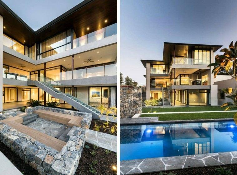lugar descanso piedras pisicna casa moderna jardin ideas