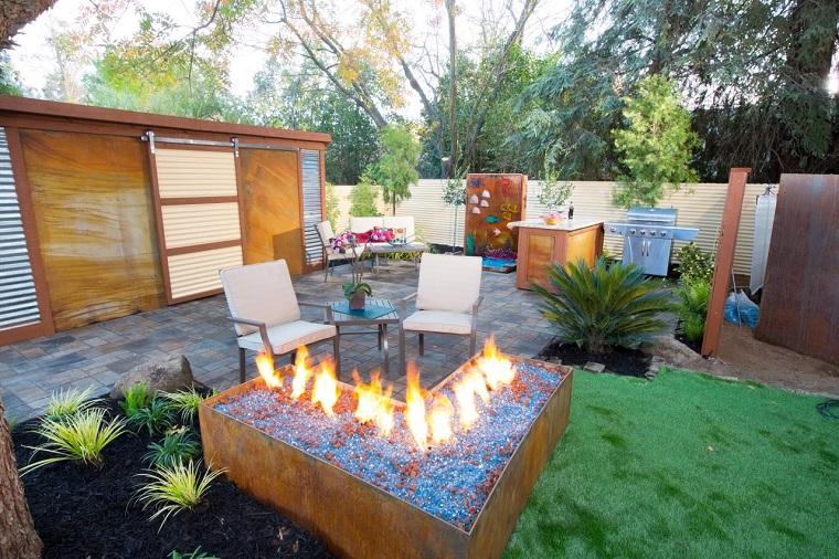 lugar fuego cesped sillas jardin bonito ideas