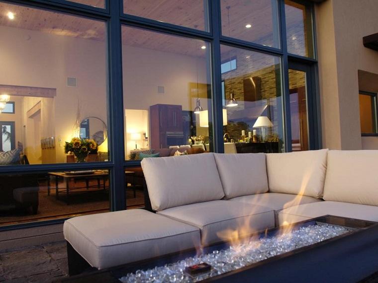lugar fuego sofas modernas terrasa relax casa ideas