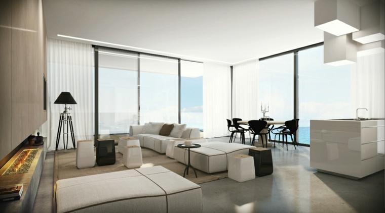 lujo minimalista negro chimenea moderna