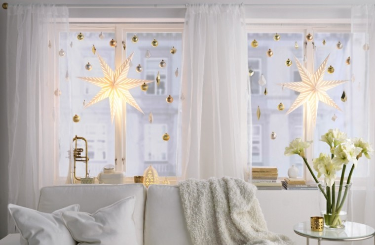 luminarias estilo decorado estrellas dorado