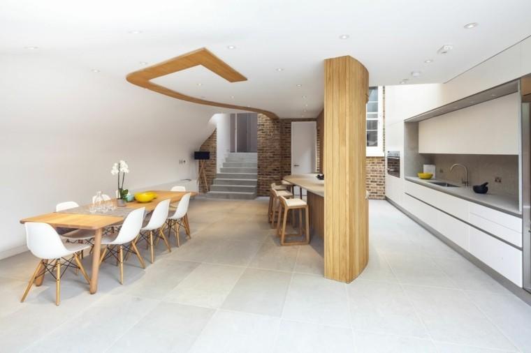 madera columna sillas cocina blanco
