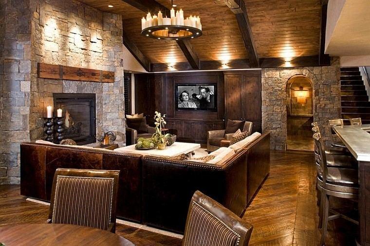 madera natural paredes salon rustico chimenea ideas