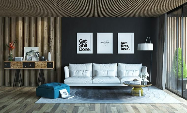 madera paneles sala estar listones