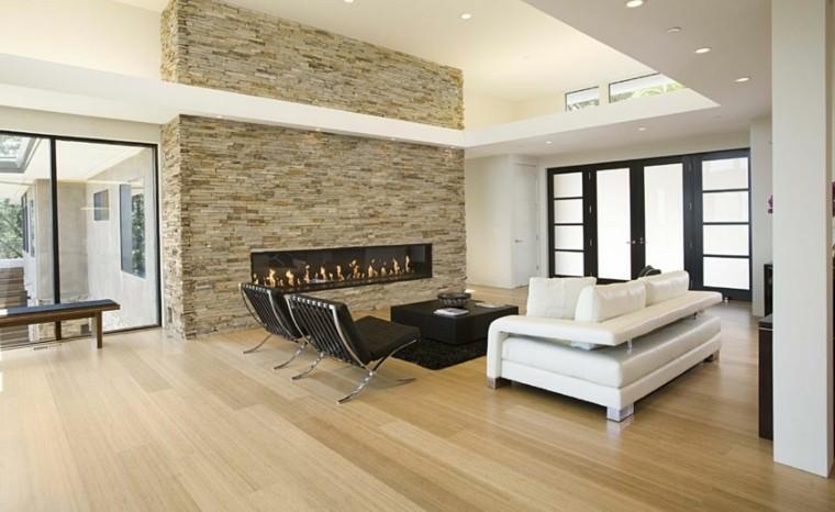 madera salon rocas estilo diseño
