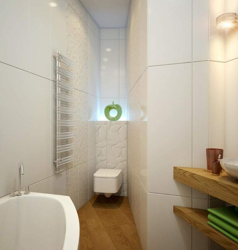 Baño Blanco Suelo Madera:Variante con muebles blancos