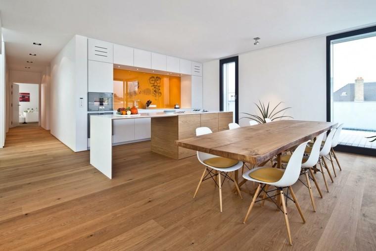 Color blanco y madera de roble para las cocinas modernas - Cocinas de madera modernas ...