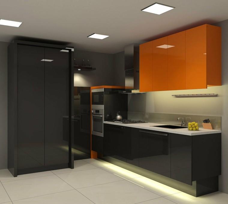 magia negra cocina toques naranja vibrante ideas