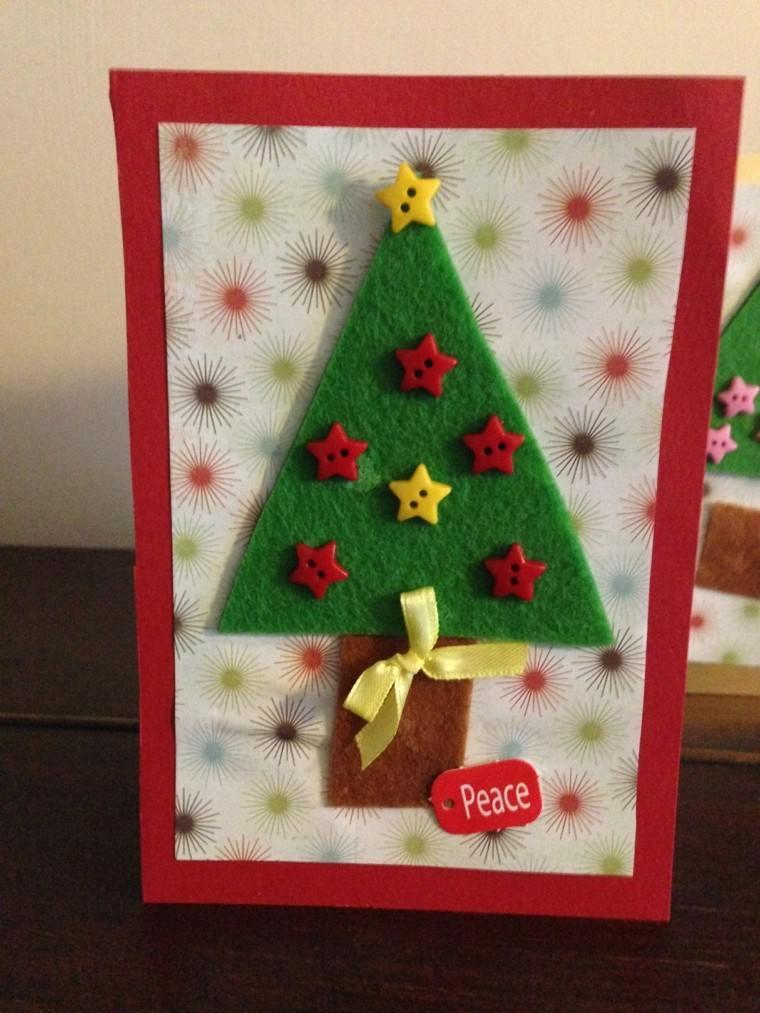 manualidades de navidad para niños carta postal colorida