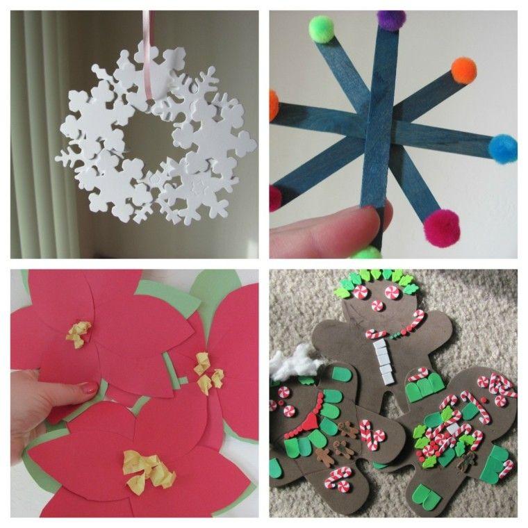 manualidades de navidad para niños colores madera flores