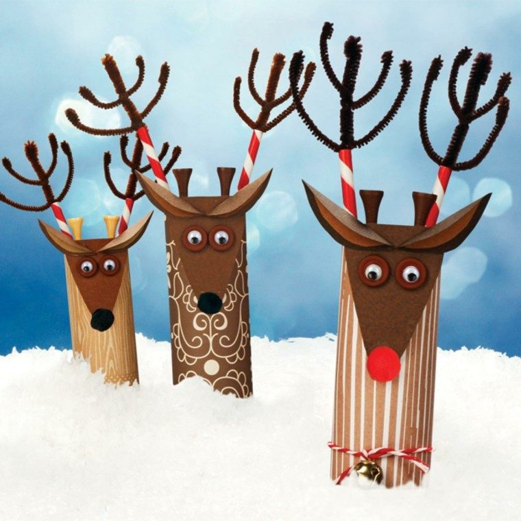 manualidades de navidad para niños renos algodon renos
