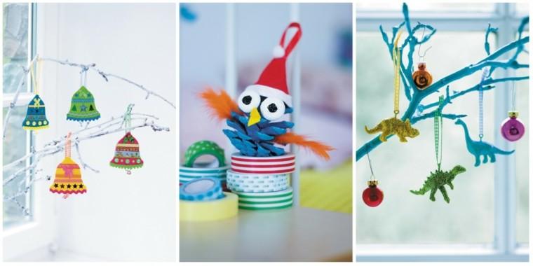 manualidades de navidad para niños ventanas ramas colores