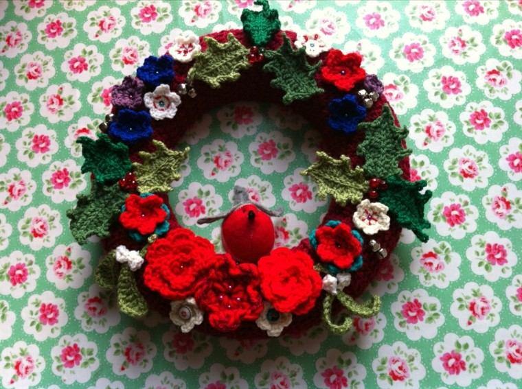 mantel flores corona crochet flores