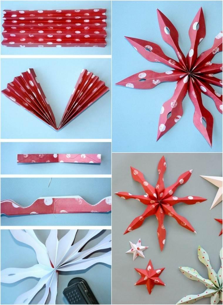 manualidades con papel rojo doblado estrella