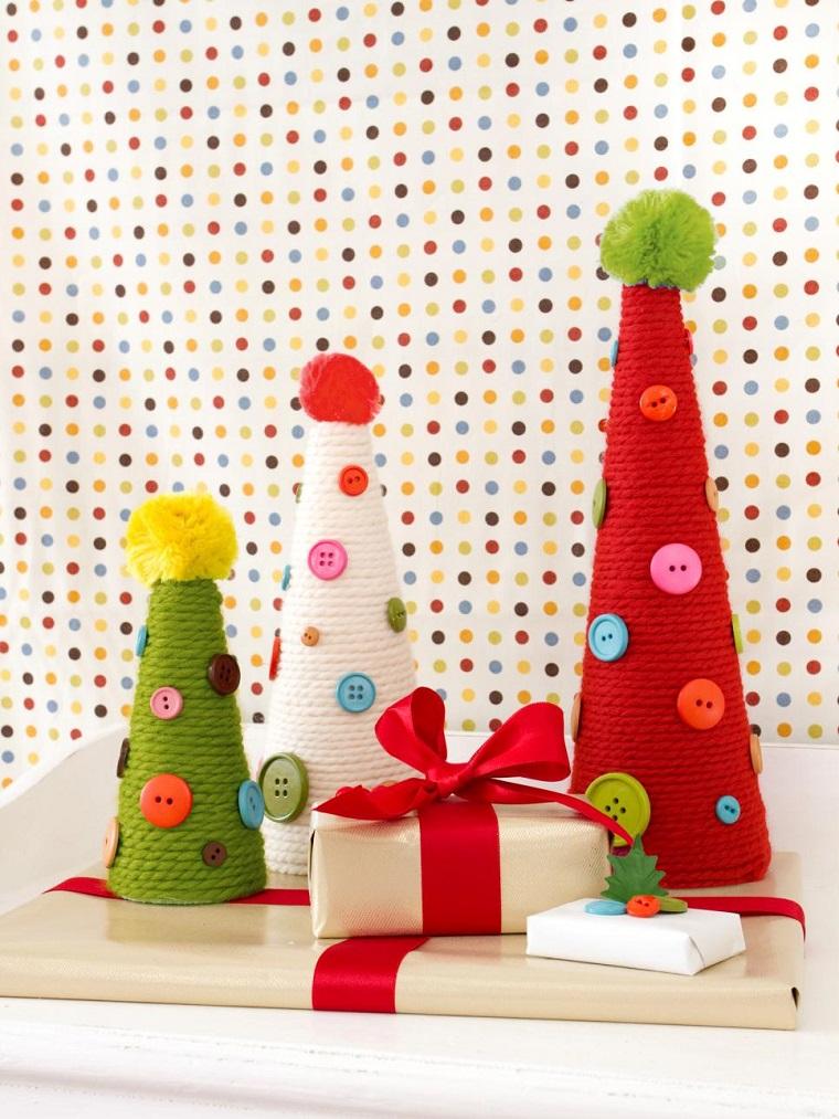 manualidades de navidad originales arboles hechos tela botones ideas