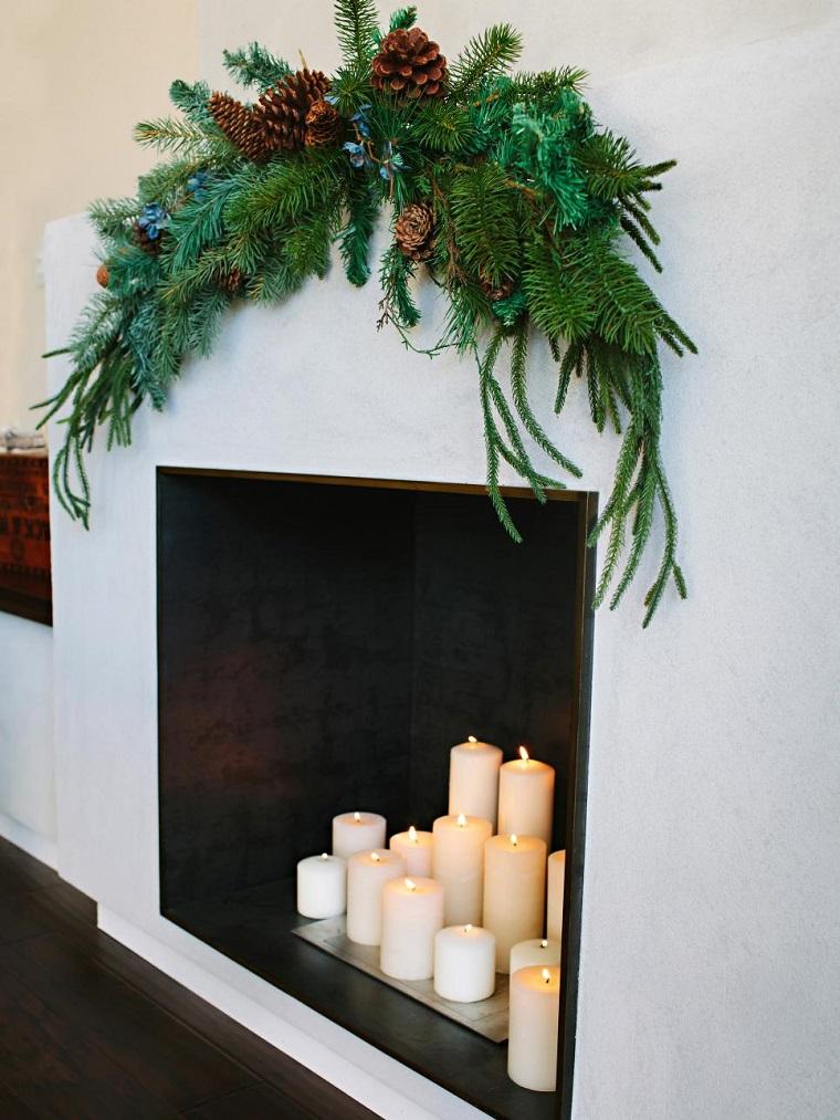 de navidad originales velas chimenea guirnalda ideas