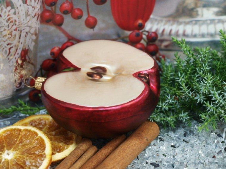 manzana decorativa falsa adorno navidad