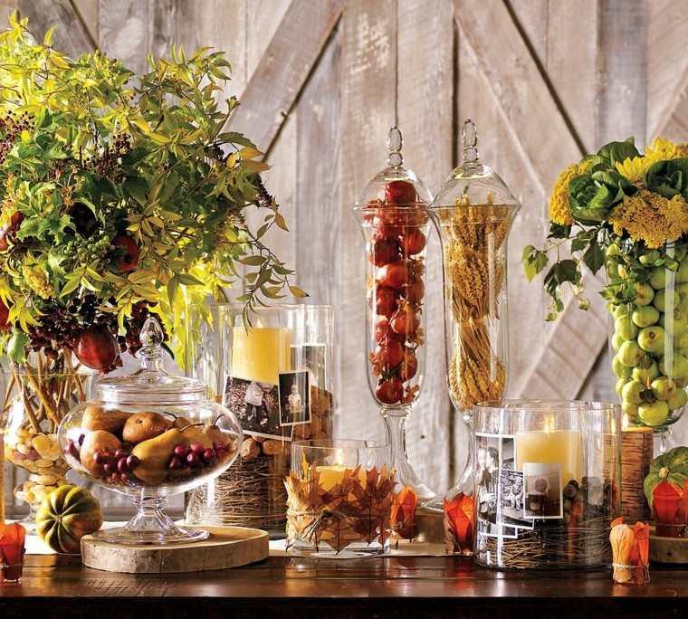 manzana pera maiz hojas secas arbol decorativas mesa ideas