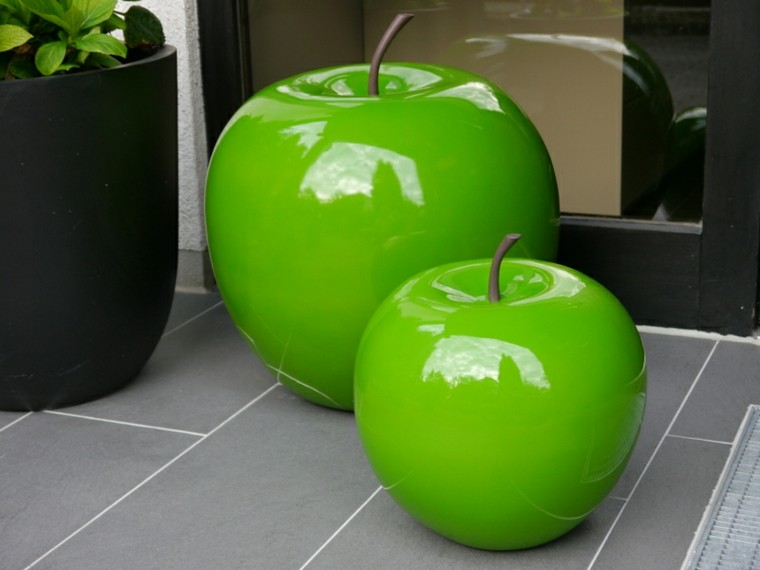 manzanas decorativas verdes brillantes