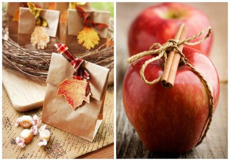 manzanas hojas secas arbol regalo decorado gusto ideas