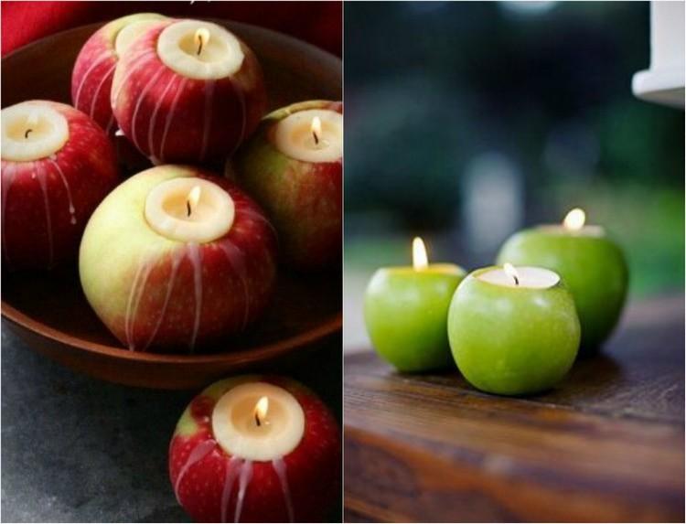 manzanas velas fuego verde fuego