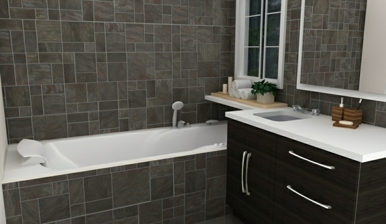 Negro gris y marr n en el cuarto de ba o 50 dise os for Small bathroom designs nz