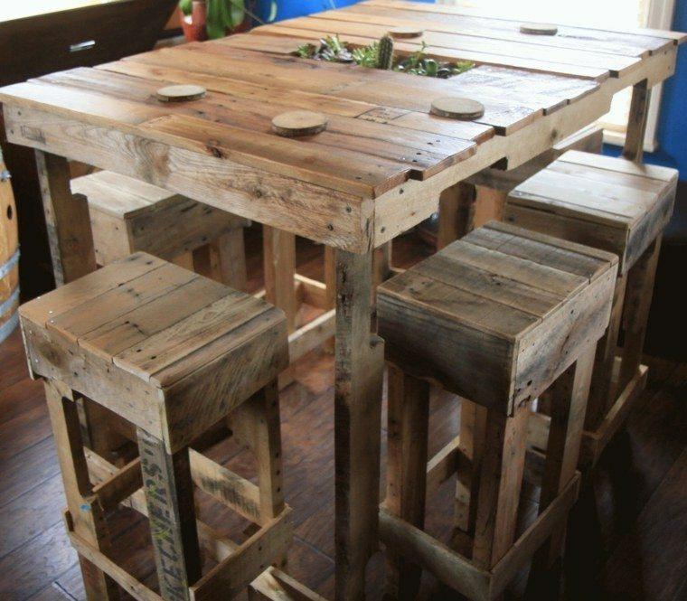 mesa bar palets madera