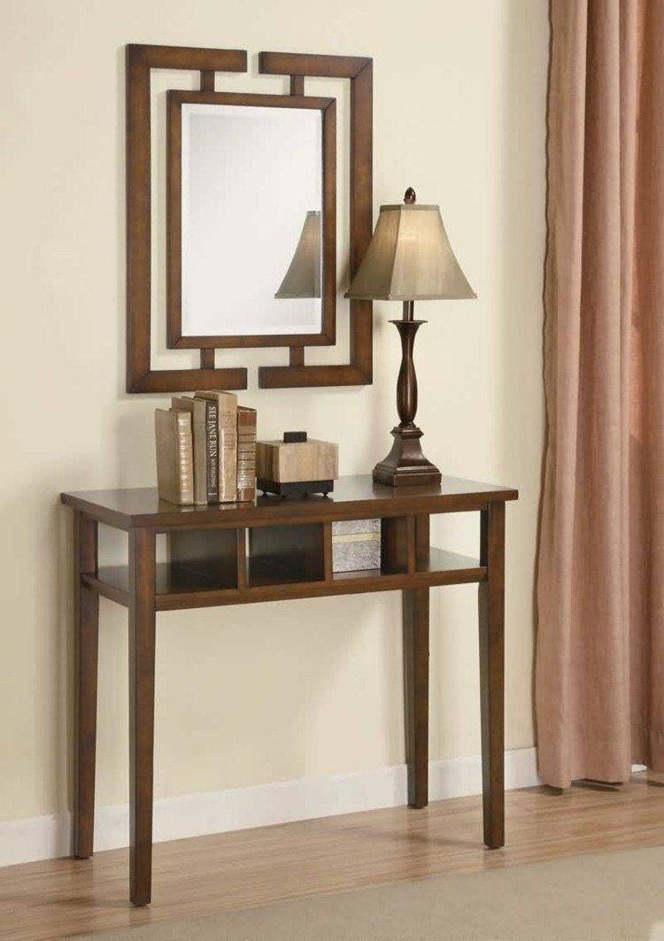 mesa alta madera entrada espejo