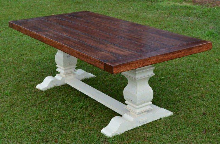 mesa blanca base madera pintura