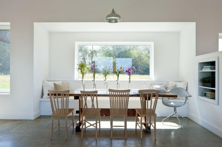 mesa comedor madera sillas suelo
