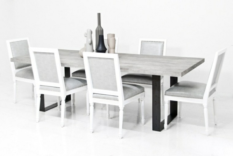 mesa comedor superficie cemento sillas