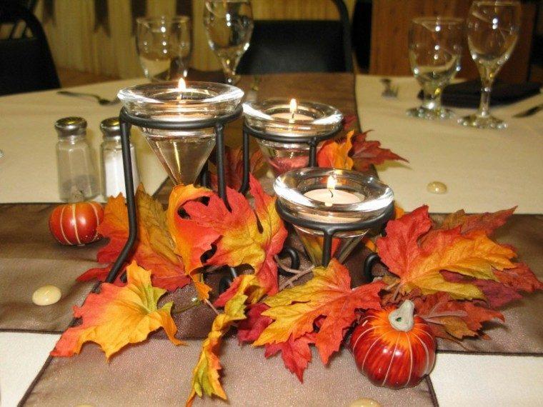 mesa comidas velas hojas secas arbol decorativas ideas