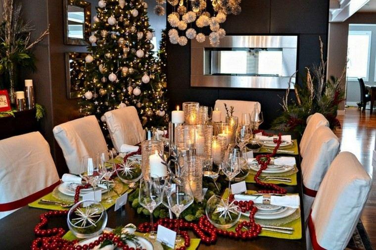 mesa decorada adornos navidad collar