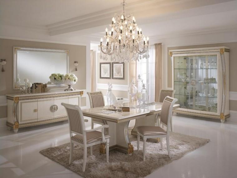 mesa madera comedor acabados blanco oro ideas