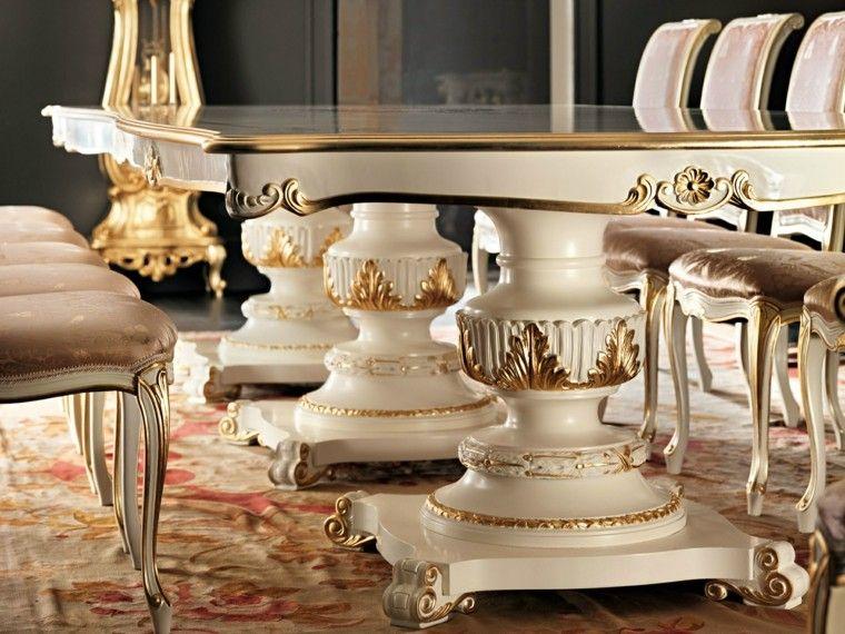 mesa madera comedor blanco oro lujosa ideas